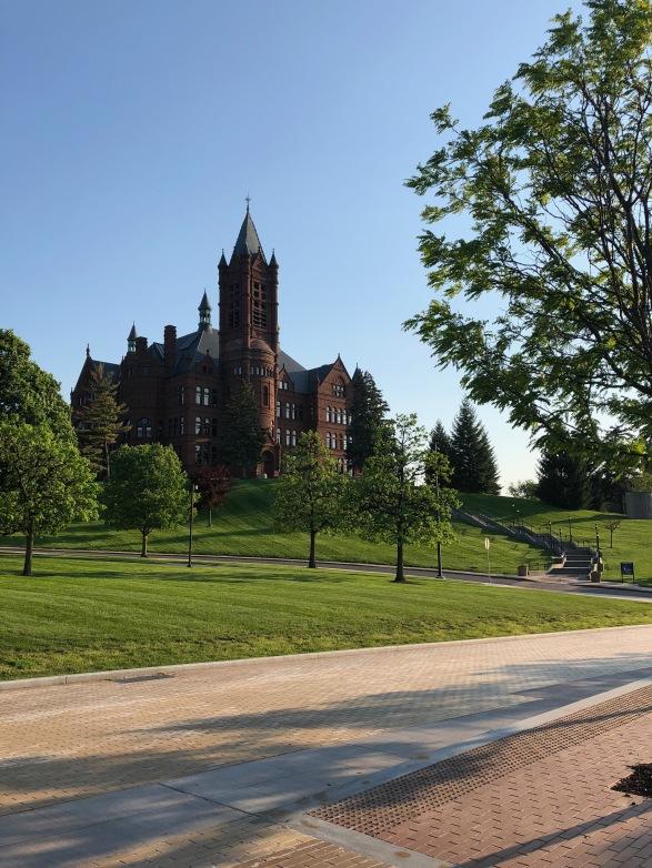 Walking around on Syracuse University's campus.